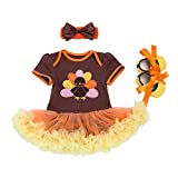 Newborn Baby Girls First 1st Thanksgiving Outfit Short Sleeve Romper Turkey Bodysuit with Ruffle Tulle Skirt + Bow Headband + Crib Shoes Birthday Party Dress up Fall Clothes 3Pcs Set Brown 3-6M