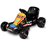 Costzon Electric Go Cart, 6V Battery Powered 4 Wheel Racer for Kids, Kids' Pedal Cars for Outdoor, Ride On Toy Car with LED Flash Light, Music, Forward/Backward, 3-Position Adjustable Seat (Black)