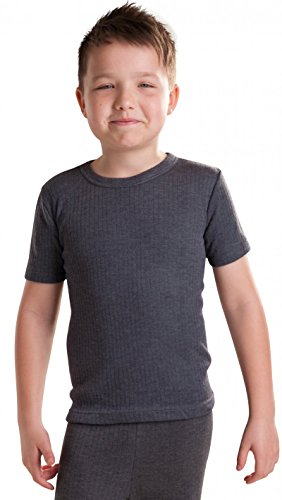 Octave Boys Thermal Underwear Short Sleeve T-Shirt/Vest/Top, 9/11 Yrs, Charcoal