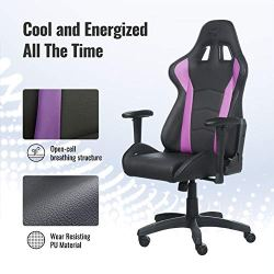 Cooler Master Caliber R1, PC Gaming Racing Chair Ergonomic High Back Office Chair, Seat Height and Armrest Adjustment, Recliner, Cushions with Headrest and Lumbar Support- Purple