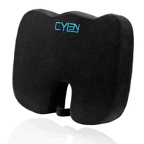 CYLEN Home-Memory Foam Bamboo Charcoal Infused Ventilated Orthopedic Seat Cushion for Back Tailbone & Sciatica Pain Relief-Medical Coccyx Cushion-Lifting Cushion-Washable & Breathable Cover (Black)