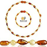 Baltic Amber Teething Necklace + Amber Teething Anklet Set for Baby (Unisex – Cognac/Milk - 12.5 Inches / 5.5 Inches) - 100% Authentic Amber Necklace & Amber Teething Bracelet for Infant & Toddler