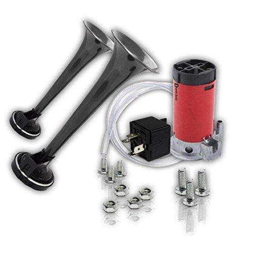 Zento Deals 12V DC Super Loud Dual Trumpet Air Horn Compressor Kit