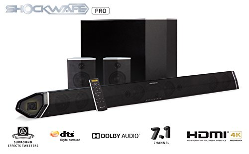 "Nakamichi Shockwafe Pro 7.1Ch 400W 45' Sound Bar with 8"" Subwoofer (Wireless) & Rear Satellite Speakers"