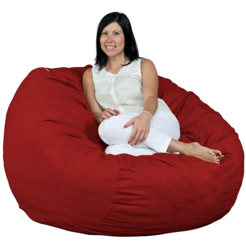 FUGU Bean Bag Chair for Adults, Large 4 Foot Foam Filled Beanbag Includes Protective Liner Plus Removable Machine Wash Cinnabar Cover.