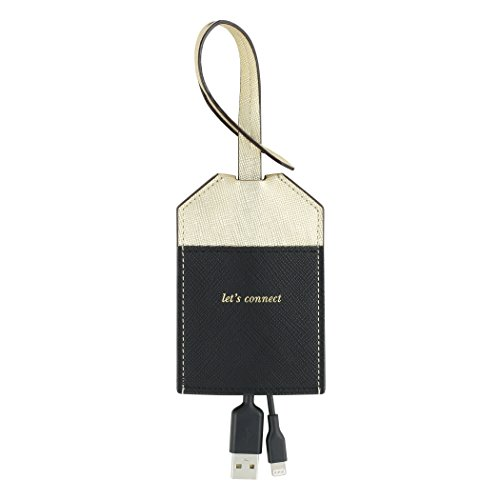 kate spade new york Portable, MFi Certified Disguised Lightning Cable to USB for Apple Charging - Gold/Black