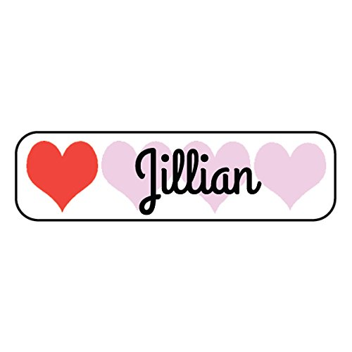 128 Personalized Waterproof Name Labels - Custom Polyester Labels - Hearts Label