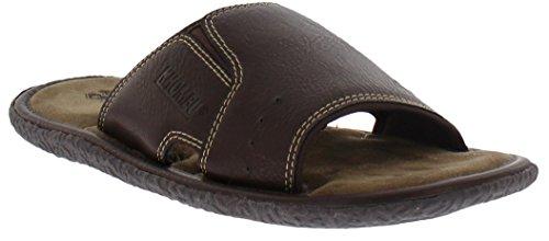 Khombu Mens Memory Foam Slide Sandal, Brown, Medium, 8-9 M US