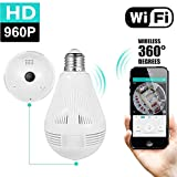 GearFend HD 1080P Home WiFi Camera Bulb, 360 Degree Panoramic Wireless Security IP Camera for Home Baby Pet Monitor Remote Viewing Camera Night Vision Motion Detection Wireless Camera 2.4GHz