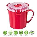 Microwave Soup Mug by Annaklin, Soup Mug with Lid and Handle, Small, 22.18 oz./656ml, Red