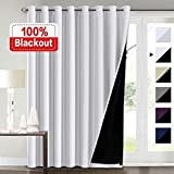 Flamingo P Extra Wide Blackout Curtains White 100 x 84 for Bedroom, 100% Blackout Double Layer Window Panels Thermal Insulated Energy Saving Lined Curtains for Patio Door/Living Room, Grommet Top