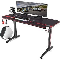 Vitesse 55 inch Gaming Desk Racing Style Computer Desk with Mouse pad, T-Shaped Professional Gamer Game Station with USB…