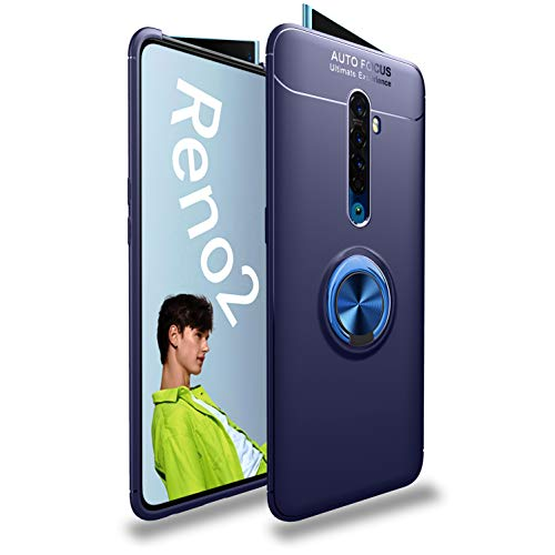 Casodon Ring Holder Hybrid Back Cover for Oppo Reno 2Z (Blue) 1