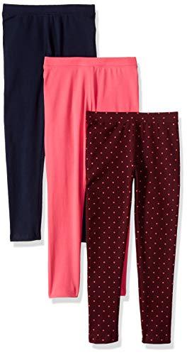 Amazon Essentials Big Girls' 3-Pack Leggings, Simple Dot Purple/Raspberry/Navy, XL (12)