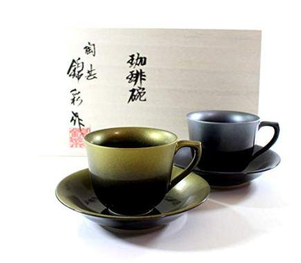 Porcelain potter Fujii NishikiAya Tianmu gold Platinum Aya coffee cup pair set | gifts | Gifts | Present | souvenir