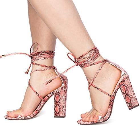 JSUN7 Women's Fashion Lace Wrap Open Round Toe Summer Chunky Block Elegant Heel Sandal Pump Shoe 7