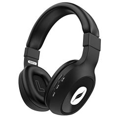 Leaf Bass 2 Wireless Bluetooth Headphones with Hi-Fi Mic and 15 Hours Battery Life, Over-Ear Headphones with Super Soft Cushions and Deep Bass (Black)