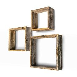 BarnwoodUSA Rustic Shelves, Square Floating Wood Shadowbox, Home Decor, Set of 3 (Natural Weathered Gray)