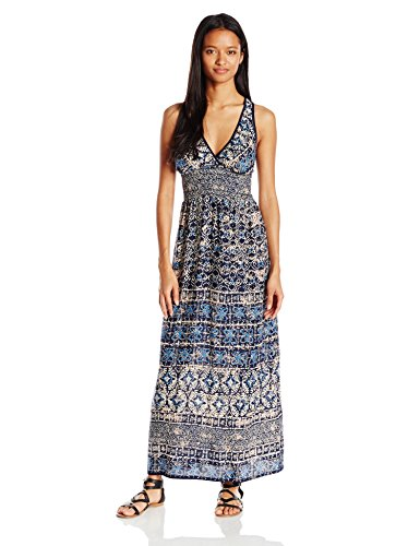 41QcGFRVp9L Sleeveless maxi in allover print featuring deep V-neckline and wide smocked waistband Sleeveless v-neck short dress
