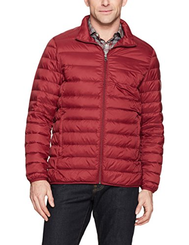 Amazon Essentials Men's Lightweight Water-Resistant Packable Down Jacket, Brick Red, Large