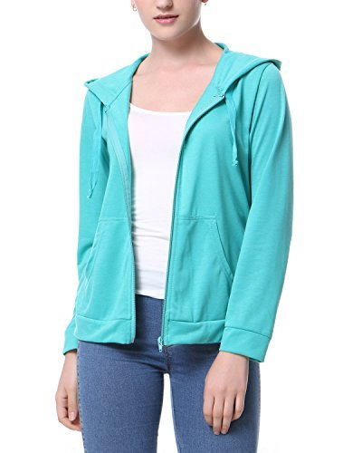Mixfeer Women's Casual Fashion Lightweight Hoodie Jersery With Full Zip