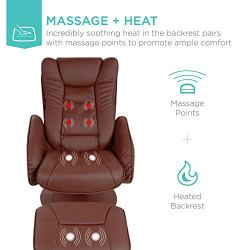 Best Choice Products Faux Leather Electric Massage Recliner Chair w/Stool Ottoman, Remote Control, 5 Modes – Brown