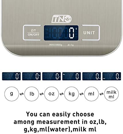 Digital Kitchen Food Scale, TNO Multifunction Stainless Steel Scale, LCD Display, 11LB/5KG, Sliver (Included Batteries) 4