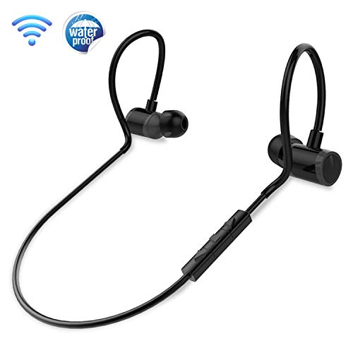 In Ear Wireless Bluetooth Headphones - Waterproof Black Cordless Sports Earbuds Headset Earphones, Ear Buds Wireless Headphones w/ Microphone For Audio Video Running Gym Workout Gaming - Pyle PSWPHP43