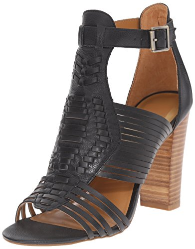 41QkTUhqJfL Heeled sandal featuring huarache upper with woven leather straps and adjustable buckle at ankle Stacked heel