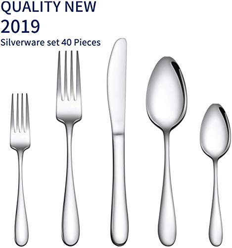 Gineoo Silverware Set 40 Piece, Stainless Steel Flatware Utensils Set Service for 8, Simple Look & Modern Design, Dishwasher Safe (40 Pieces)
