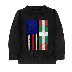 HJKNF58Q Basque Country American USA Flag Pride Sweater Youth Kids Funny Crew Neck Pullover Sweatshirt