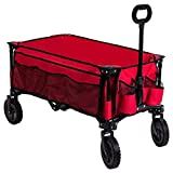 Timber Ridge Camping Wagon Folding Garden Cart Collapsible Heavy Duty Utility Grocery Trolley, Wheels, Red