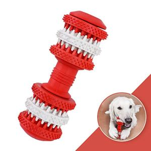 Dog Toothbrush Natural Rubber Teeth Massage Puppy Teeth Brushing Toy Tooth Cleaner Pet Food Treats Feeder for Small Medium Large Dogs Dental Care, Red