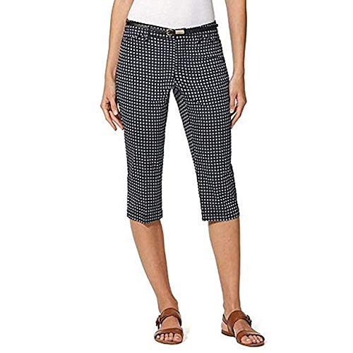 Gloria Vanderbilt Ladies' Anita Belted Capri Casual Summer Pants (Midnight Affair, 10)