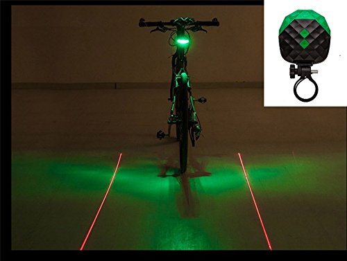BlueSunshine 2 Laser + 5 LED 7 Modes Super Lighting Cycling Bicycle Bike Taillight Warning Flashing Lamp Alarm Light/LED Safety Light for Mountain Bike Cycling Water Resistant Rear Lights (Green)
