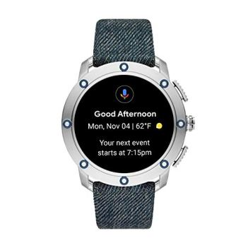 Diesel On Men's Axial Touchscreen Stainless Steel and Leather Smartwatch, Denim Blue-DZT2015