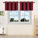 YGO Bedroom Half Window Curtain Valances Home Decoration for Christmas and Thanksgiving Day Blackout Valances Eyelet Top Curtains Wine Red 1 Pair 52 Width x 18 inch Length