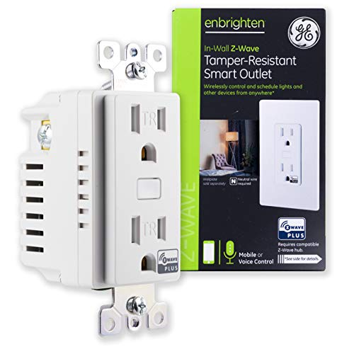 GE Enbrighten Z-Wave Plus Smart Receptacle Outlet, On/Off, Tamper Resistant, 1 On / 1 Controllable, for Lighting/Appliances, Zwave Hub Required, Works with SmartThings, Wink, and Alexa, 14288, White