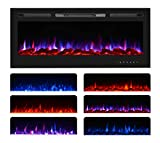 U-MAX 50' Recessed Electric Fireplace, in-Wall Recessed Mounted, Log Set & Crystal Hearth Options, 750W/1500W Heater with Timer/Multicolor Flames/Touch Screen & Remote Control, Black