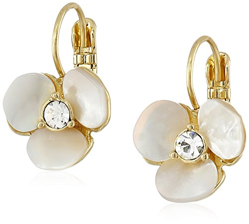 41Qwkty6TKL Flower-inspired gold-tone earrings featuring synthetic pearl petals and round sparkle centerpiece Lever-back closure. Measurements: width: 1⁄2 inches, height: 3⁄4 inches Items may vary in size, shape, and color.