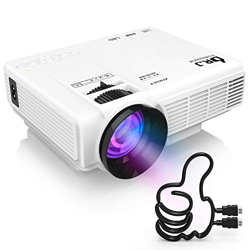 """DR. J Professional HI-04 1080P Supported 4Inch Mini Projector with 170"""" Display - 40,000 Hours LED Full HD Video Projector, Compatible with HDMI,USB,SD (Latest Upgrade)"""