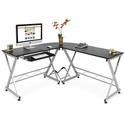 Best Choice Products Modular L-Shape Desk Workstation for Home, Office w/Wooden Tabletop Keyboard Tray – Black