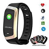 Smart Watch Color Touchscreen 2018 Newest Special Edition Bluetooth Sport Band with Heart Rate & Blood Pressure & GPS Sleep Monitor Fitness Activity Tracker, Android iOS(Black&Golden)