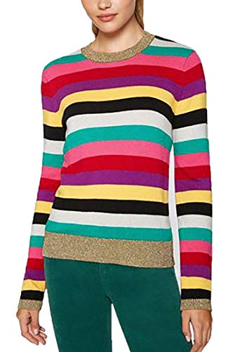 61vCwMW20UL Material : Cotton blend H 18 Stripe Sweater With Lurex Rib in Multi Metalic cuffs, Collar, and Waistband