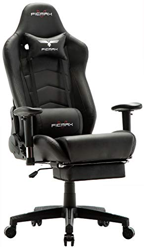 Ficmax Ergonomic Gaming Chair Massage Computer Gaming Chair Reclining Racing Office Chair with Footrest High Back PU Leather Gaming Desk Chair Large Size E-Sport Chair with Headrest and Lumbar Support