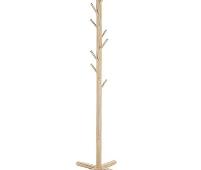 Premium Wooden Coat Rack Free Standing With 8 Hooks Lacquered Pine Wood Tree Coat Rack