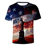 iSovze Men's Independence Day Summer Fashion USA Eagle Printing Short Sleeve 【Dark Blue,US-2XLCN-3XL(54~56)】
