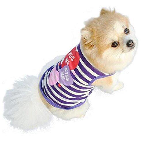 Kritter Kouture Hug me, kiss me, love me dog tee, striped blue