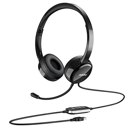 Mpow 071-Upgraded Durability Version, USB Headset with 3.5mm Jack, Lightweight Computer Headset with Noise Cancelling Microphone, Comfy Earmuffs, 7.87ft Wired Headphones for PC, Skype, Phone