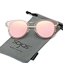 SojoS Fashion Polarized Sunglasses for Women UV400 Mirrored Lens SJ1057 With Gold Frame/Gold Mirrored Lens